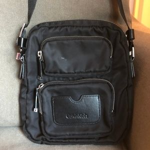 Calvin Klein Women's Black Nylon Pocket Crossbody